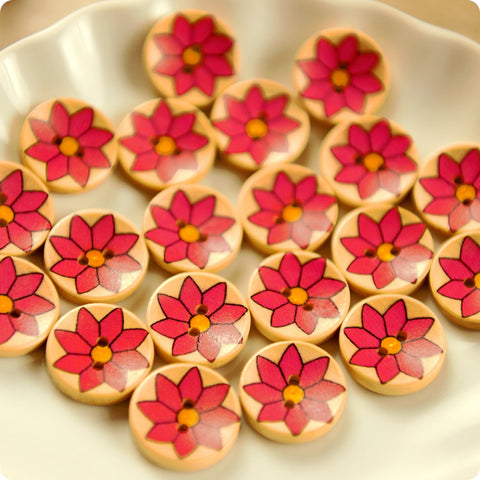 Flowers - pink floral wooden buttons -10pcs