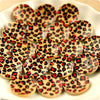 Red & black animal print wooden buttons -10pcs