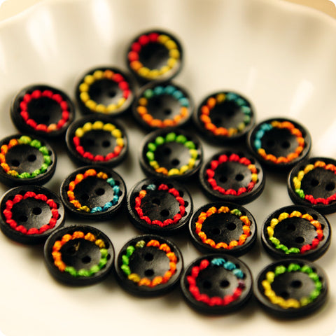2-hole with rainbow stitches natural wooden buttons -10pcs