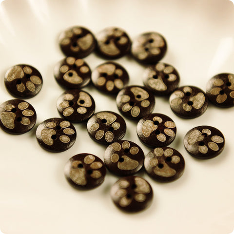 Pets - brown carved paw prints wooden buttons -10pcs