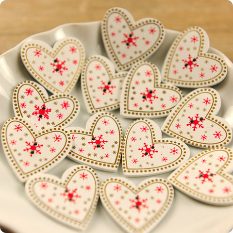 Love - white & red Scandinavian hearts wooden buttons -10pcs