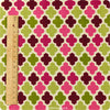 Retro - purple pink & green quatrefoil cotton fabric FQ1007-63