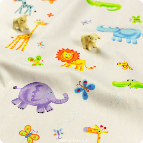 Zoo - white lion giraffe & elephant cotton fabric W:100cm FQ1204-13