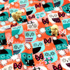 Buy Cotton Fabric - Orange Owls Fat Quarter FQ £2.99 | My Fabric House