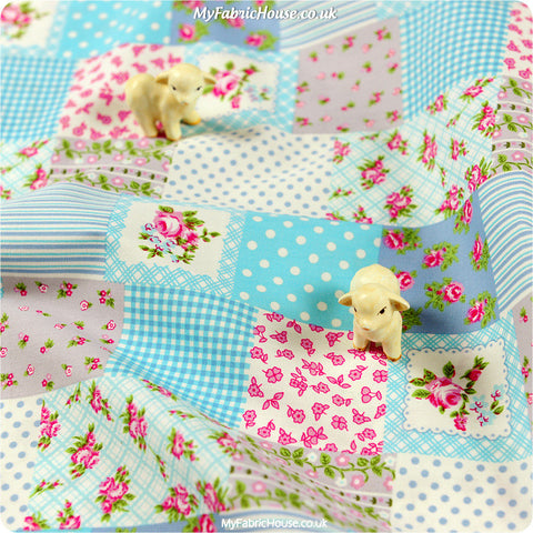 Buy Cotton Fabric - Blue Roses Fat Quarter FQ £2.99 | My Fabric House