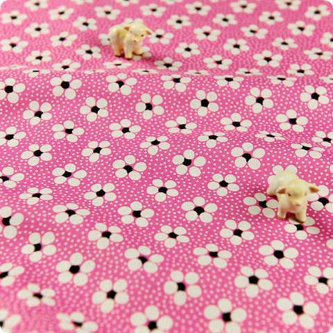 *BULK BUY* Flowers - pink floral & spotty cotton fabric W:100cm FQ1206-07