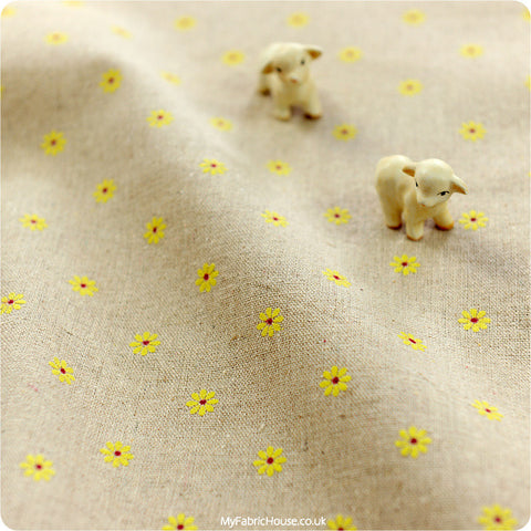 Buy Hessian Fabric - Yellow Floral Fat Quarter FQ £3.25 | My Fabric House
