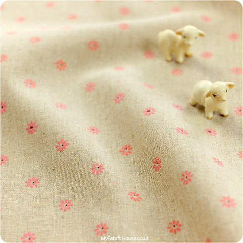 Flowers - pink daisy hessian linen fabric W:100cm FQ1206-50
