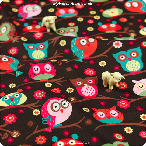 Buy Cotton Fabric - Owls & Birds Fat Quarter FQ £3.25 | My Fabric House