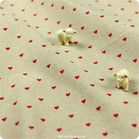 Love - red hearts natural hessian linen fabric W:150cm FQ1207-33