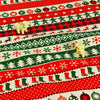 Christmas - distressed green & red retro gingerman & reindeer linen fabric W:135cm FQ1210-10
