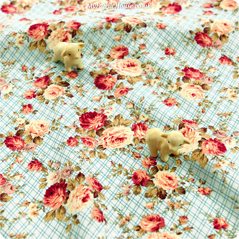 Buy Cotton Fabric - Blue Floral Fat Quarter FQ £2.99 | My Fabric House