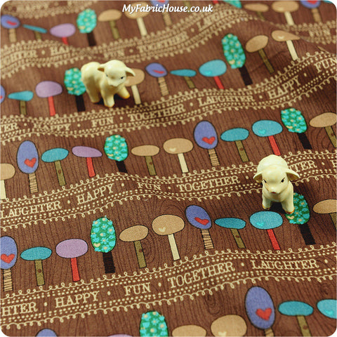 Buy Cotton Fabric - Brown Trees Fat Quarter FQ £2.99 | My Fabric House