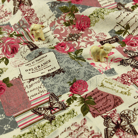 Flowers - pink French roses linen fabric W:155cm FQ1211-24