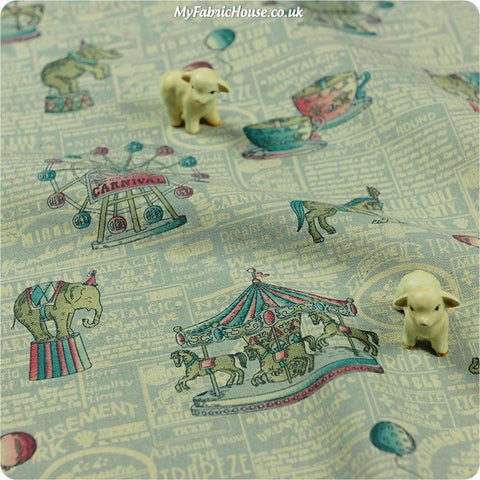 Buy Linen Fabric - Blue Circus Fat Quarter FQ ?3.99 | My Fabric House