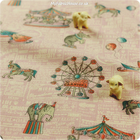 Buy Linen Fabric - Pink Circus Fat Quarter FQ ?3.99 | My Fabric House