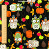 Halloween - black & orange owls & pumpkin cotton fabric FQ1211-42