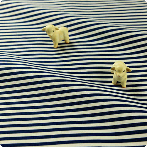 Stripe - navy blue & white 4mm stripes cotton fabric