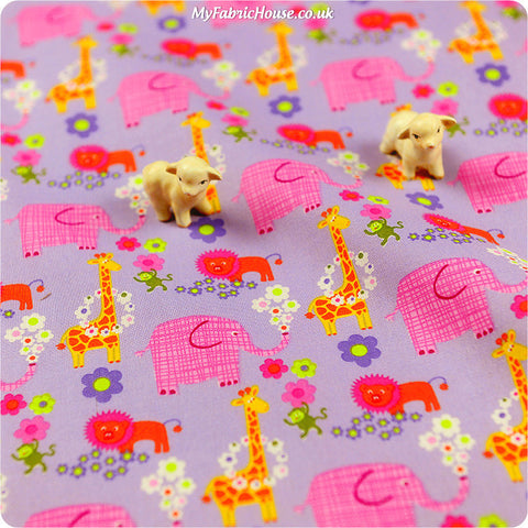 Buy Cotton Fabric - Purple Animals Fat Quarter FQ £2.99 | My Fabric House