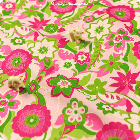 Buy Cotton Fabric - Pink Floral Fat Quarter FQ £2.99 | My Fabric House