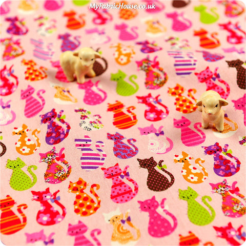 Buy linen fabric - pink Pets Fat Quarter FQ £3.99 | My Fabric House