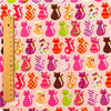 [SALE] Pets - pink multicoloured kitty motifs linen fabric W:96cm FQ1301-26