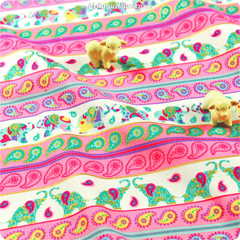 Zoo - pink & blue aqua elephant & paisley stripes cotton fabric W:110cm FQ1302-06