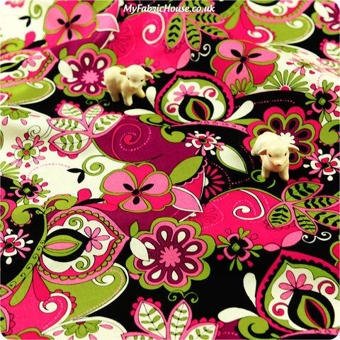 Bold floral - pink & lime floral cotton fabric W:100cm FQ1302-18