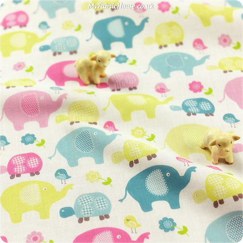 [SALE]  Zoo - duck egg & lime elephant birds & turtles cotton fabric FQ1302-36