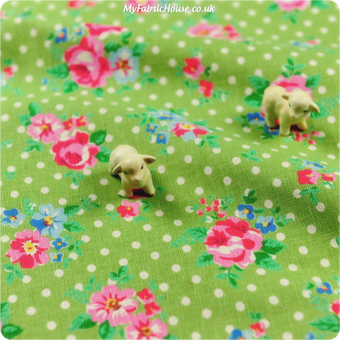 Flowers - green & pink roses & polka dots linen fabric W:96cm FQ1302-55