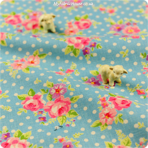[SALE] Flowers - blue & pink roses & polka dots linen fabric W:96cm FQ1302-56