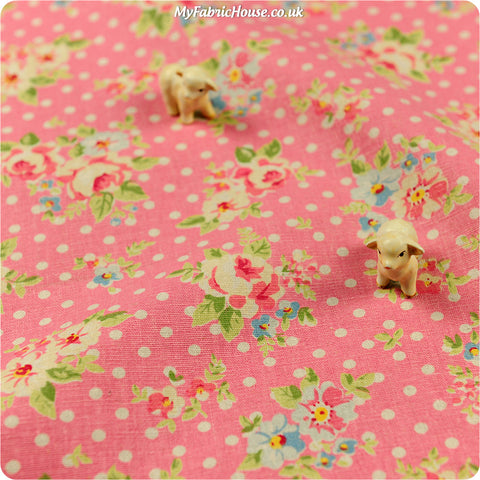 [SALE] Flowers - pink roses & polka dots linen fabric FQ1302-57