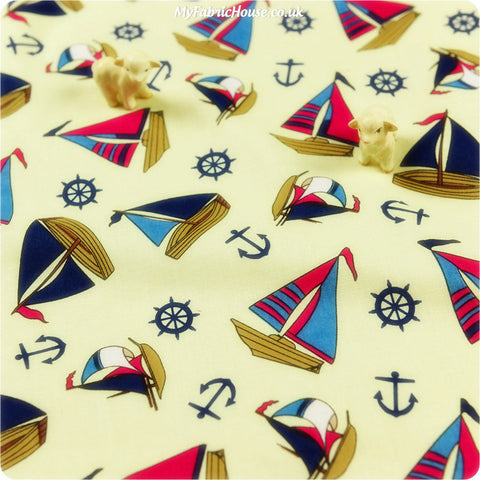 Buy cotton fabric - yellow Nautical Fat Quarter FQ £3.25 | My Fabric House