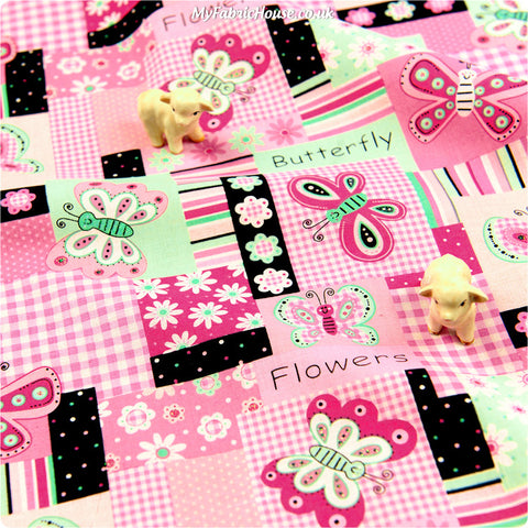 Buy cotton fabric - pink Butterfly Fat Quarter FQ £3.25 | My Fabric House