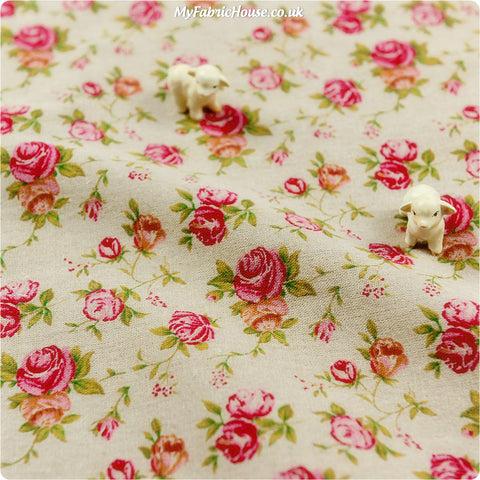Flowers - pink roses natural linen fabric W:100cm FQ1303-30