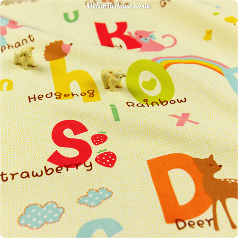 Zoo - yellow animal alphabet cotton fabric W:100cm FQ1303-32