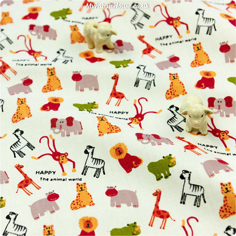 Buy cotton fabric - white Zoo Fat Quarter FQ £3.25 | My Fabric House