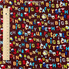 Bugs - brown multicolour letters cotton fabric FQ1304-06