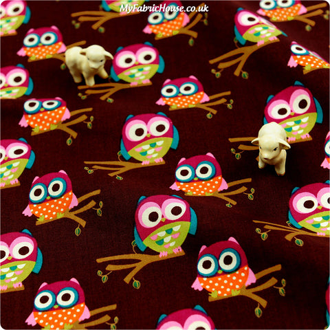 Buy cotton fabric - brown Owls Fat Quarter FQ £3.25 | My Fabric House