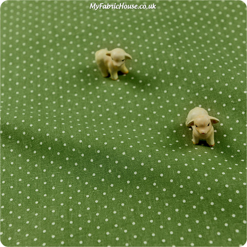 Polka dots - green & white 2mm spotty linen fabric W:94cm  FQ1304-19
