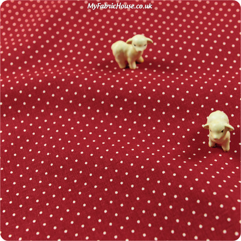 Polka dots - scarlet & white 2mm spotty linen fabric W:140cm FQ1304-20
