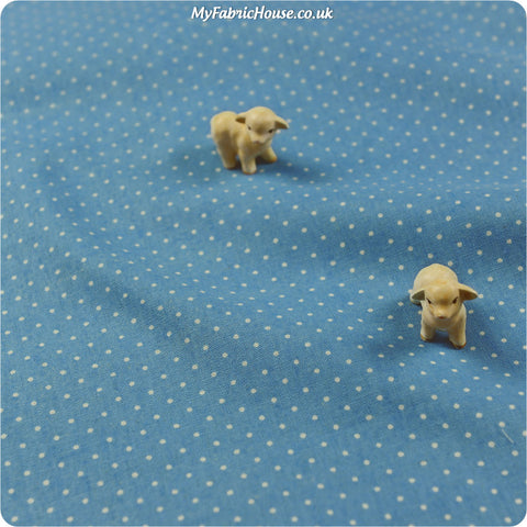 Buy linen fabric - blue Polka dots Fat Quarter FQ £3.99 | My Fabric House