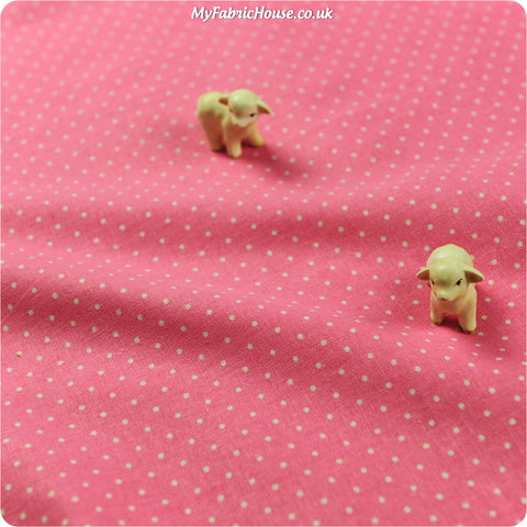 Buy linen fabric - pink Polka dots Fat Quarter FQ £3.99 | My Fabric House