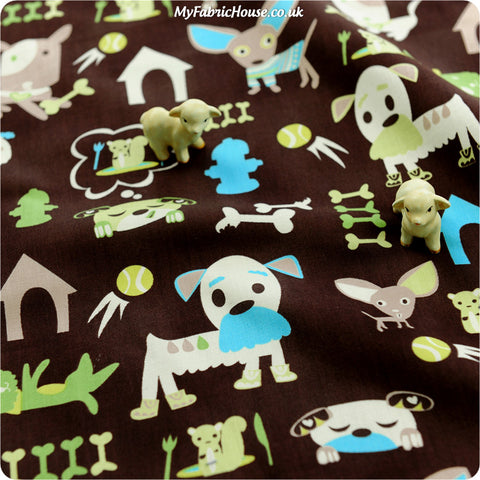 Buy cotton fabric - brown Pets Fat Quarter FQ £3.25 | My Fabric House