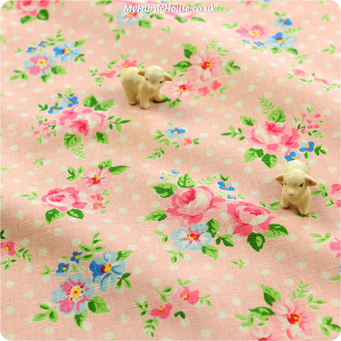 [SALE] Flowers - pink roses & polka dots linen fabric FQ1305-03