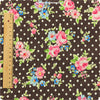 Flowers - brown roses & polka dots linen fabric FQ1305-04