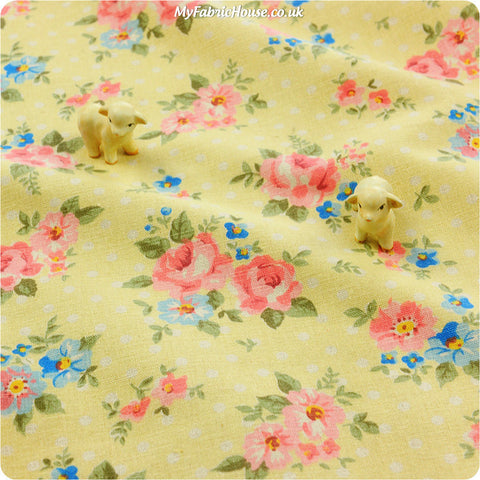 Buy linen fabric - beige Flowers Fat Quarter FQ £3.99 | My Fabric House