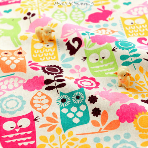 Buy linen fabric - multicolour Woodland Fat Quarter FQ £3.99 | My Fabric House