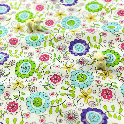 Flowers - white multicoloured floral doodle cotton fabric FQ1305-19