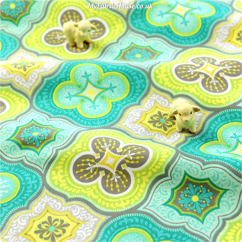 Buy cotton fabric - blue Retro Fat Quarter FQ £2.99 | My Fabric House